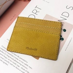 Madewell Leather Card Case in Nubuck